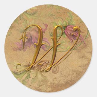 KRW Vintage Floral Gold W Monogram Wedding Seal Classic Round Sticker