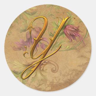 KRW Vintage Floral Gold Y Monogram Wedding Seal Classic Round Sticker