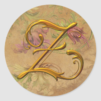 KRW Vintage Floral Gold Z Monogram Wedding Seal