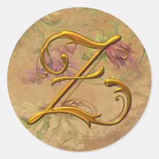 KRW Vintage Floral Gold Z Monogram Wedding Seal Classic Round Sticker