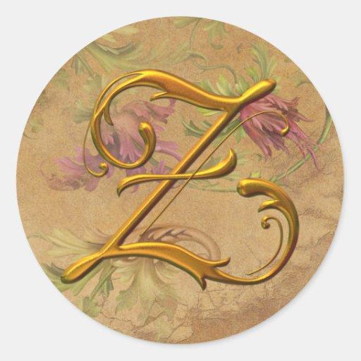 KRW Vintage Floral Gold Z Monogram Wedding Seal Round Stickers