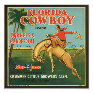 KRW Vintage Florida Cowboy Citrus Fruit Label Poster