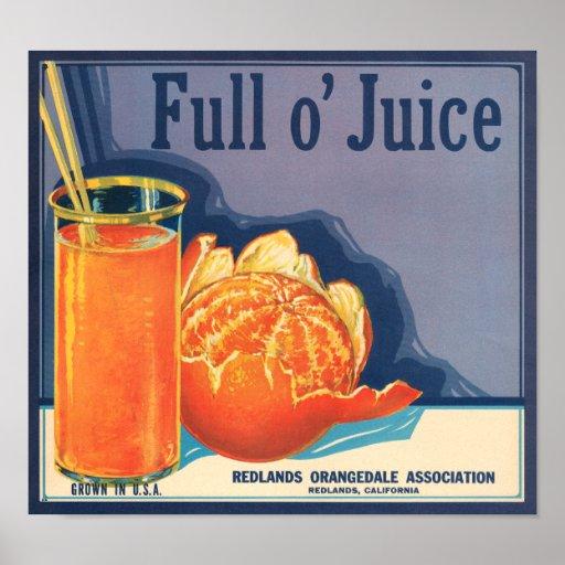 KRW Vintage Full o' Juice Orange Fruit Crate Label Poster