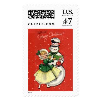 KRW Vintage Girl and Snowman Christmas Postage
