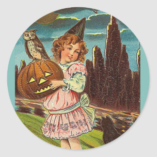 KRW Vintage Girl with Jack O Lantern Halloween Classic Round Sticker