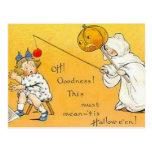KRW Vintage Halloween Children Postcard