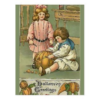 KRW Vintage Halloween Greetings Postcard