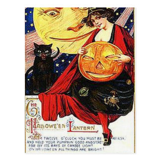 KRW Vintage Halloween Lantern Postcard