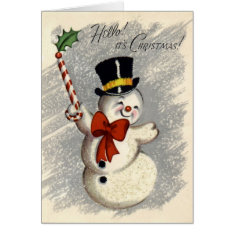 KRW Vintage Happy Snowman Christmas Card at Zazzle