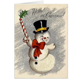 KRW Vintage Happy Snowman Christmas Card