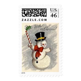 KRW Vintage Happy Snowman Christmas Stamp