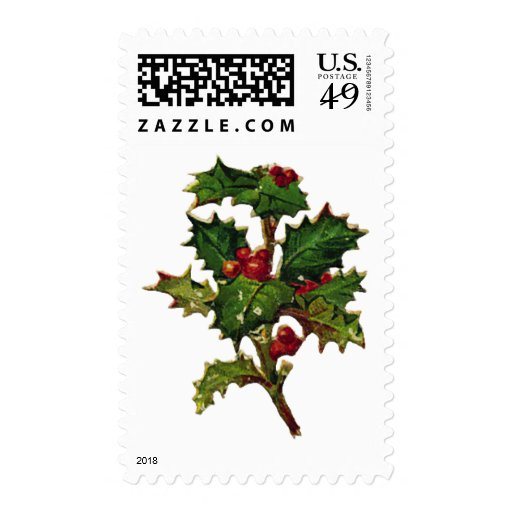 KRW Vintage Holly Design Christmas Postage