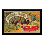 KRW Vintage Imperial Plums Fruit Crate Label Poster