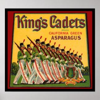 KRW Vintage King's Cadets Asparagus Crate Label Poster