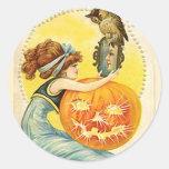 KRW Vintage Lady and Jack O Lantern Halloween Classic Round Sticker