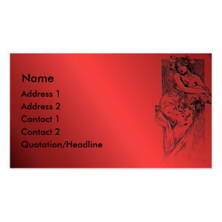 KRW Vintage Lady On Red Business Card