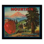KRW Vintage Mountain Apples Fruit Crate Label Poster