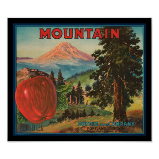 KRW Vintage Mountain Apples Fruit Crate Label Posters