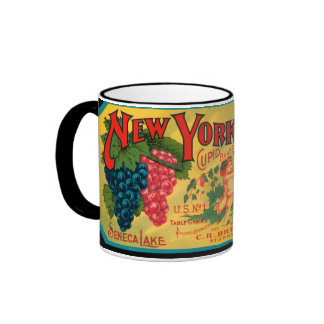 KRW Vintage NY State Grapes Crate Label Mug