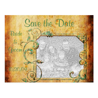 KRW Vintage Parchment Custom Photo Save the Date Post Card