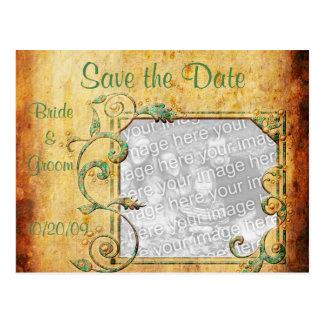 KRW Vintage Parchment Custom Photo Save the Date Postcard