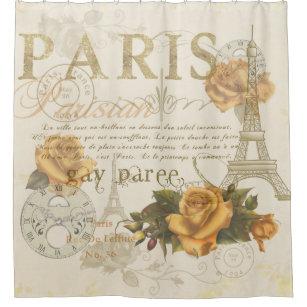 KRW Vintage Paris Rose Eiffel Tower Shower Curtain