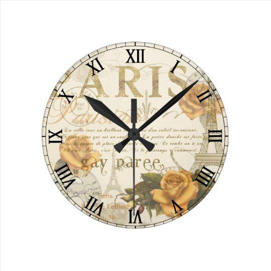Krw Vintage Paris Roses Roman Numeral Clock