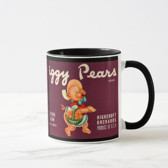 KRW Vintage Piggy Pears Fruit Crate Label Mug