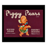 KRW Vintage Piggy Pears Fruit Crate Label Poster