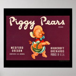 KRW Vintage Piggy Pears Fruit Crate Label Poster