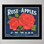 KRW Vintage Rose Apples Fruit Crate Label Poster