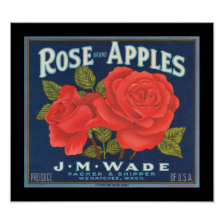 KRW Vintage Rose Apples Fruit Crate Label Poster