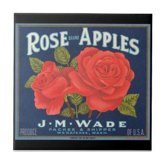 KRW Vintage Rose Apples Fruit Crate Label Tile