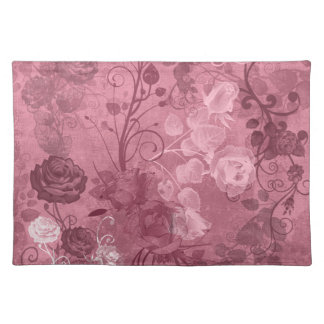 KRW Vintage Rose Layered Pattern in Burgundy Cloth Placemat