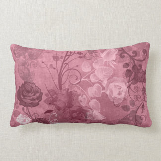 KRW Vintage Rose Layered Pattern in Burgundy Throw Pillow