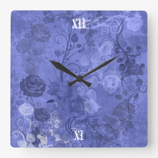 KRW Vintage Rose Layered Pattern in Royal Blue Square Wall Clock