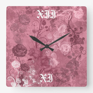 KRW Vintage Roses Layered Pattern in Burgundy Square Wall Clock