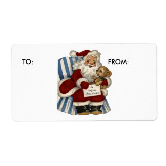 KRW Vintage Santa and Teddy Xmas To and From Label Shipping Label