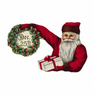 KRW Vintage Santa and Wreath Holiday Ornament Photo Sculpture Ornament