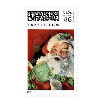 KRW Vintage Santa Claus Christmas Stamp stamp