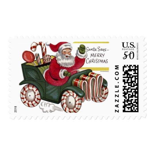 KRW Vintage Santa in Car Christmas Stamp