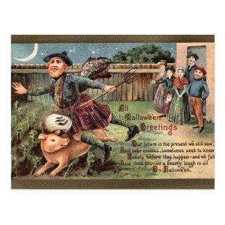 KRW Vintage Scottish  Halloween Postcard
