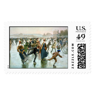 KRW Vintage Skaters 1885 Holiday Stamp