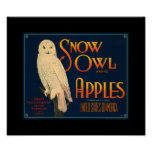 KRW Vintage Snow Owl Apple Fruit Crate Lable Poster