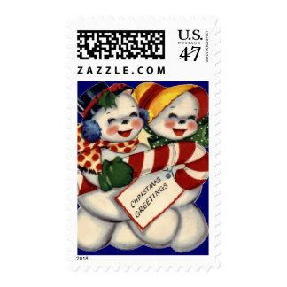 KRW Vintage Snowcouple Christmas Stamp