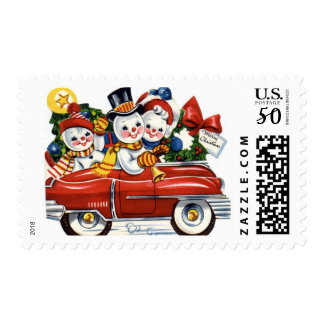 KRW Vintage Snowmen Car Holiday Stamp
