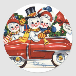 KRW Vintage Snowmen Car Holiday Sticker