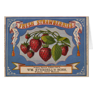 KRW Vintage Strawberries Crate Label Card