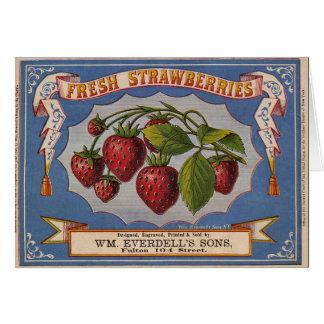 KRW Vintage Strawberries Crate Label Card
