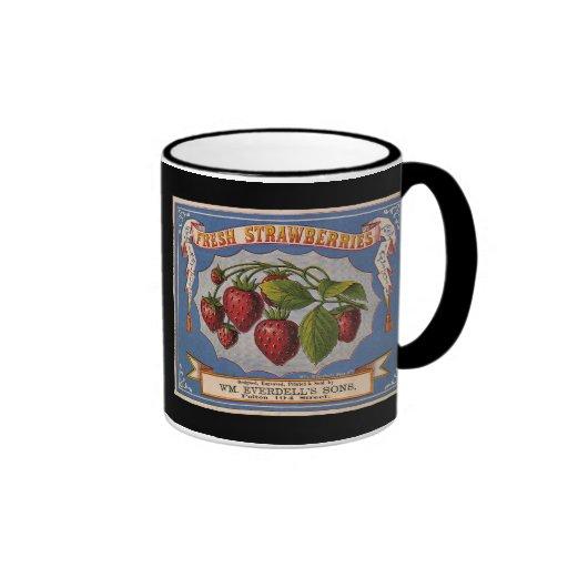 KRW Vintage Strawberries Fruit Crate Label Mug